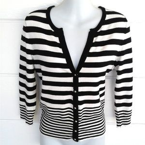 White House Black Market Striped Button Cardigan S